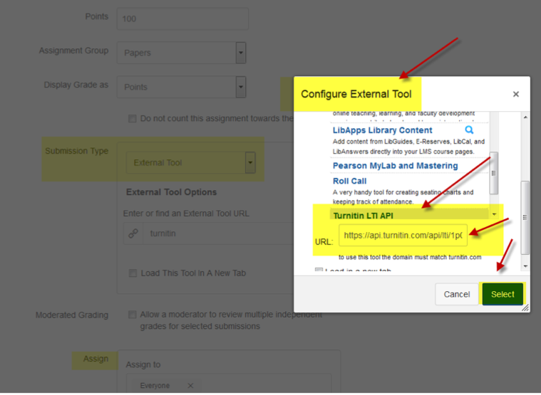 Configure external tool option in Canvas