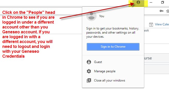 Click on the people head in Chrome to ensure you're using the correct account