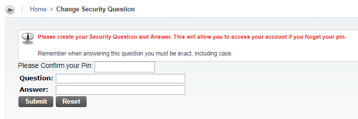 Window for creating security question and answer