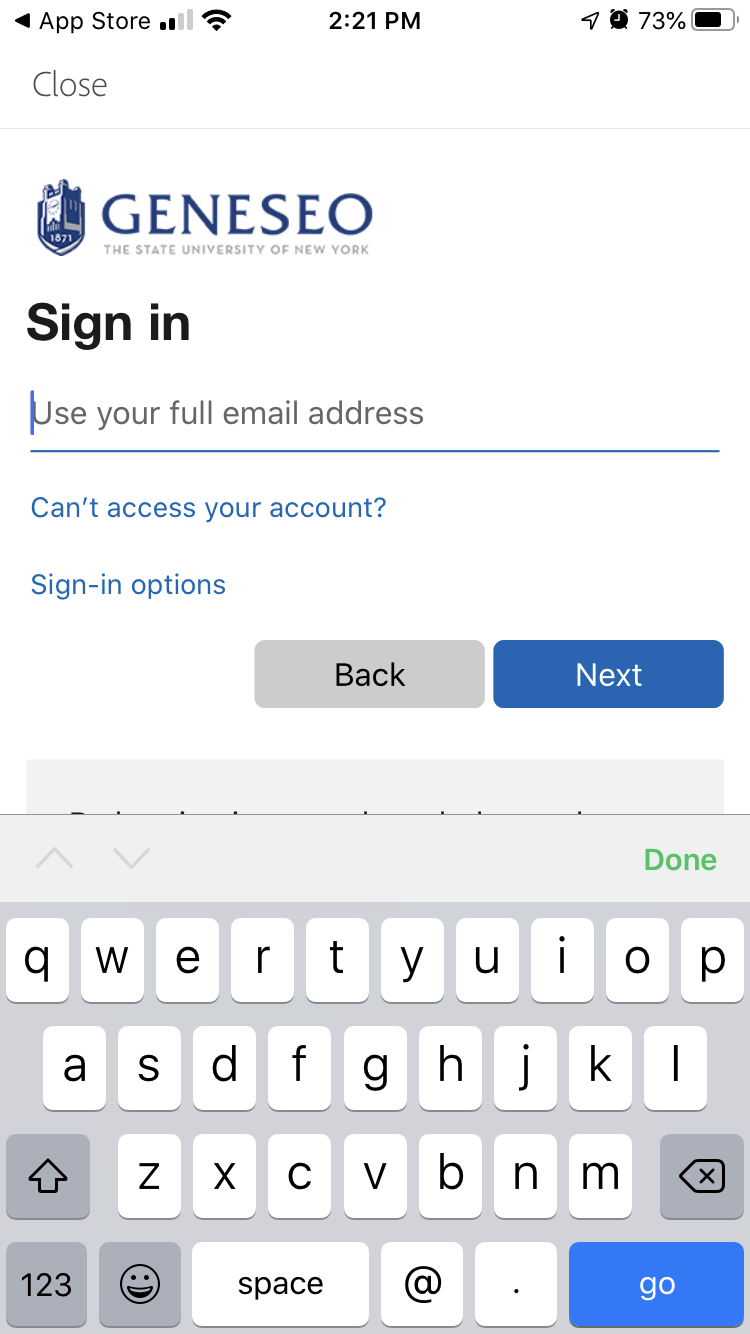 Geneseo sign-in page