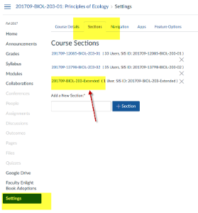 Click Section Tab Create Course