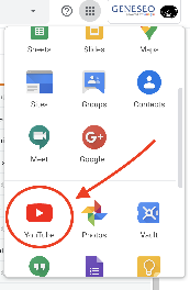 YouTube icon circled from GSuite menu in email